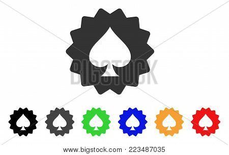 Spades Token icon. Vector illustration style is a flat iconic spades token symbol with grey, yellow, green, blue, red, black color versions. Designed for web and software interfaces.