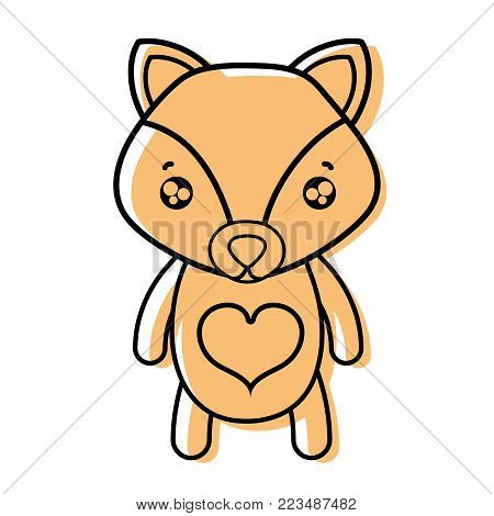 color tender fox cute wild animal vector illustration