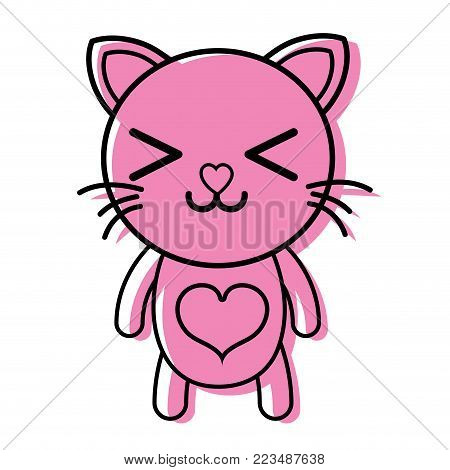 color happy cat cute feline animal vector illustration poster