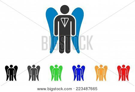 Ton Angel Investor icon. Vector illustration style is a flat iconic ton angel investor symbol with gray, yellow, green, blue, red, black color versions. Designed for web and software interfaces.