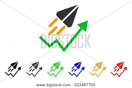 Ton Launch Trend Arrow icon. Vector illustration style is a flat iconic ton launch trend arrow symbol with grey, yellow, green, blue, red, black color versions.
