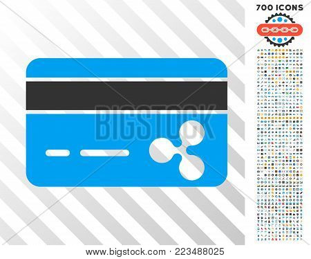 Ripple Banking Card icon with 700 bonus bitcoin mining and blockchain symbols. Vector illustration style is flat iconic symbols designed for crypto currency software.