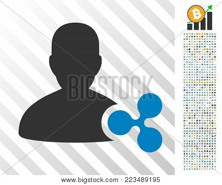 Ripple Person Loan icon with 700 bonus bitcoin mining and blockchain images. Vector illustration style is flat iconic symbols designed for bitcoin apps.