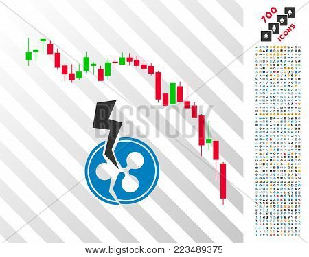 Candlestick Chart Ripple Crash icon with 700 bonus bitcoin mining and blockchain icons. Vector illustration style is flat iconic symbols designed for crypto currency apps.