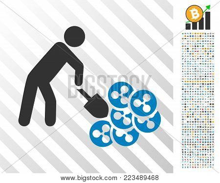 Person Digging Ripple pictograph with 7 hundred bonus bitcoin mining and blockchain images. Vector illustration style is flat iconic symbols designed for blockchain apps.
