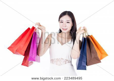 Portrait Of Korean Woman Holding Shopping Bag With Happy Emotion, Woman Shopping Concept. Isolated O