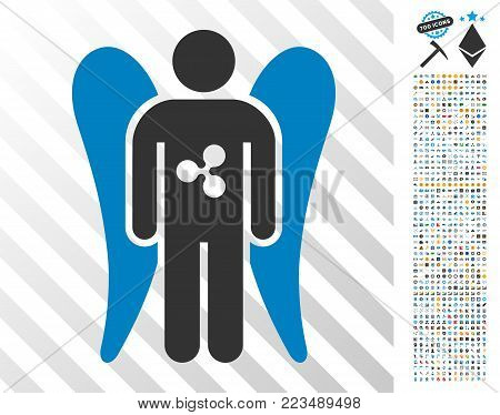 Ripple Angel Investor icon with 700 bonus bitcoin mining and blockchain pictures. Vector illustration style is flat iconic symbols designed for crypto currency software.