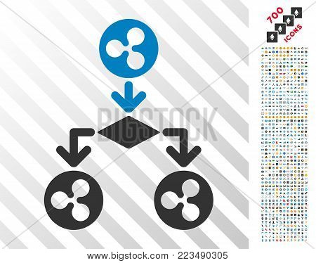 Ripple Cashflow Structure pictograph with 7 hundred bonus bitcoin mining and blockchain images. Vector illustration style is flat iconic symbols designed for bitcoin software.