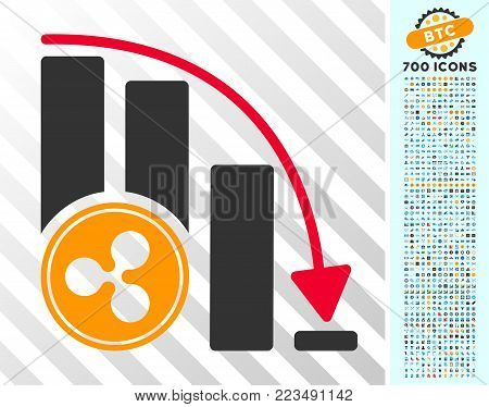 Ripple Falling Acceleration Chart icon with 7 hundred bonus bitcoin mining and blockchain icons. Vector illustration style is flat iconic symbols designed for cryptocurrency apps.