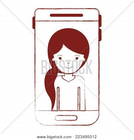 smartphone woman profile picture with pigtail hairstyle in dark red blurred silhouette vector illustration