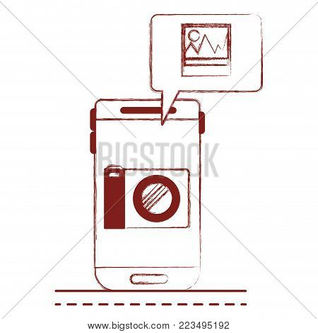 smartphone photo app and dialogue box in dark red blurred silhouette vector illustration