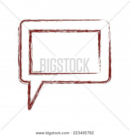 dialogue box icon with tail and frame in dark red blurred silhouette vector illustration