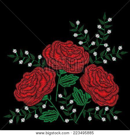 Embroidery style red rose and white flowers stitches imitation. Vector embroidery rose and little flower on black background. Embroidery flower.