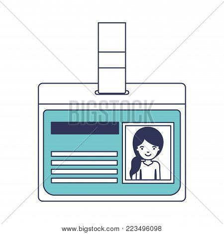 identification card with half body woman picture with pigtail hairstyle in blue color sections silhouette vector illustration