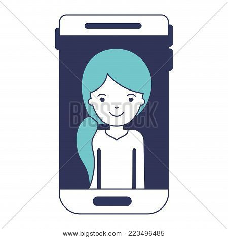 smartphone woman profile picture with pigtail hairstyle in blue color sections silhouette vector illustration