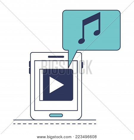 tablet device music app and dialogue box in blue color sections silhouette vector illustration