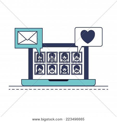 people picture profiles social network in laptop screen with dialogues mail and heart in blue color sections silhouette vector illustration