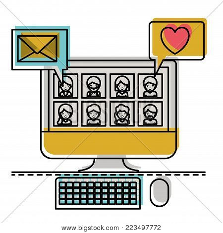 people picture profiles social network in desktop computer screen with dialogues mail and heart in watercolor silhouette vector illustration