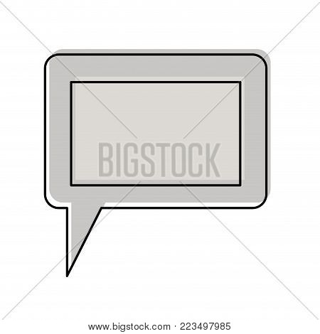 dialogue box icon with tail and frame in watercolor silhouette vector illustration