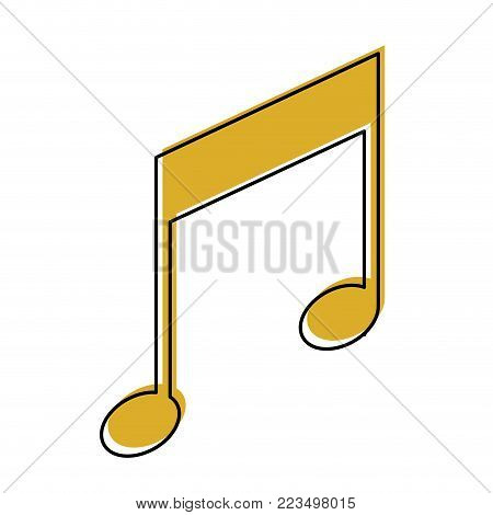 musical note icon in watercolor silhouette vector illustration