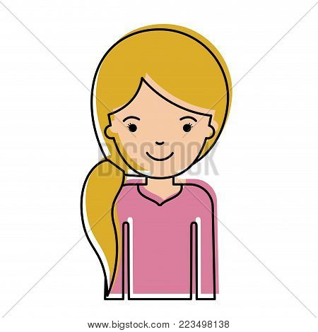 half body woman with pigtail hairstyle in watercolor silhouette vector illustration