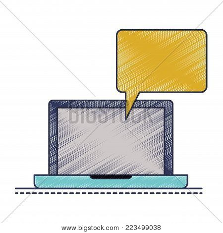 laptop computer with bubble dialogue in colored crayon silhouette vector illustration