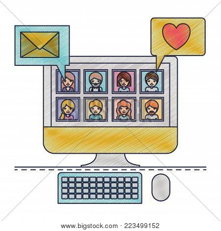 people picture profiles social network in desktop computer screen with dialogues mail and heart in colored crayon silhouette vector illustration