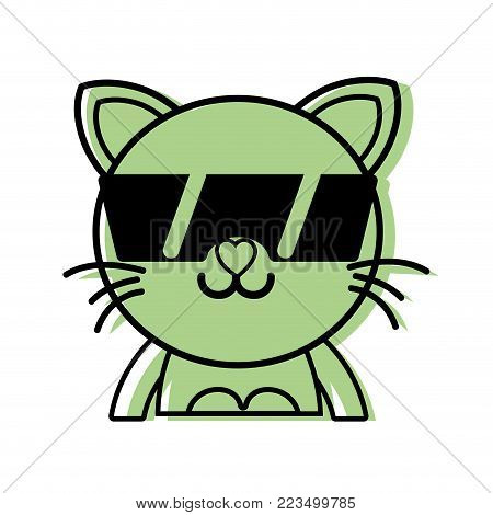 color happy cat adorable feline animal with sunglasses vector illustration
