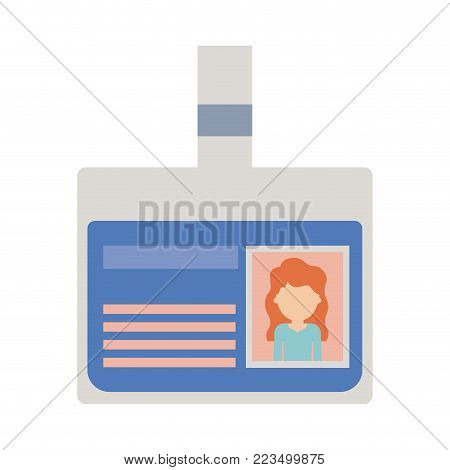 identification card with half body woman picture and faceless with long wavy hair in colorful silhouette vector illustration