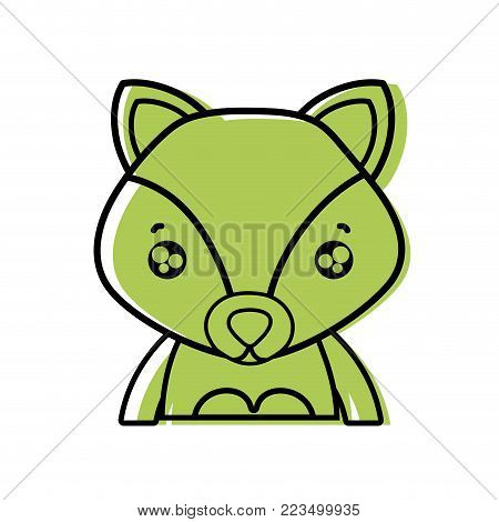 color tender fox adorable wild animal vector illustration