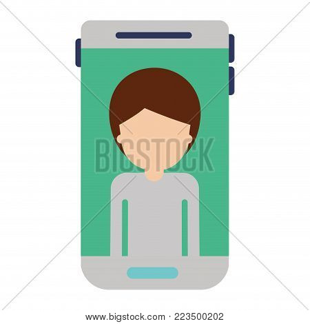 smartphone faceless man profile picture with short hair in colorful silhouette vector illustration