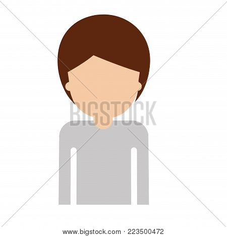 half body faceless man with short hair in colorful silhouette vector illustration