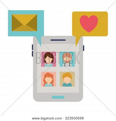 faceless people picture profiles social network in smartphone screen with dialogues mail and heart in colorful silhouette vector illustration