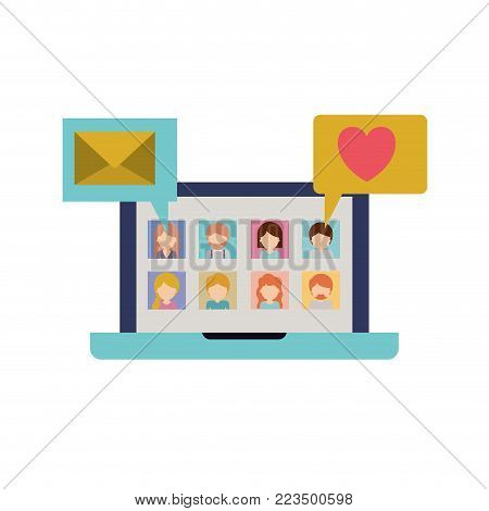 faceless people picture profiles social network in laptop screen with dialogues mail and heart in colorful silhouette vector illustration