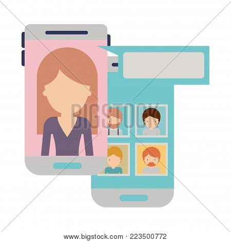 faceless woman and group social network chat in smartphone in colorful silhouette vector illustration