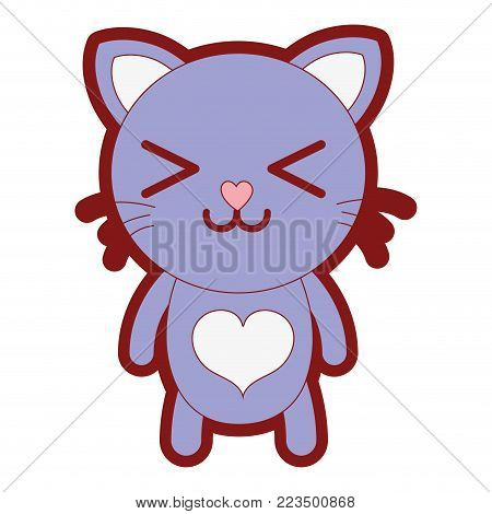 line color happy cat cute feline animal vector illustration