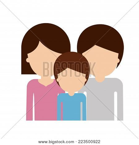 half body faceless family group with brown hair in colorful silhouette vector illustration