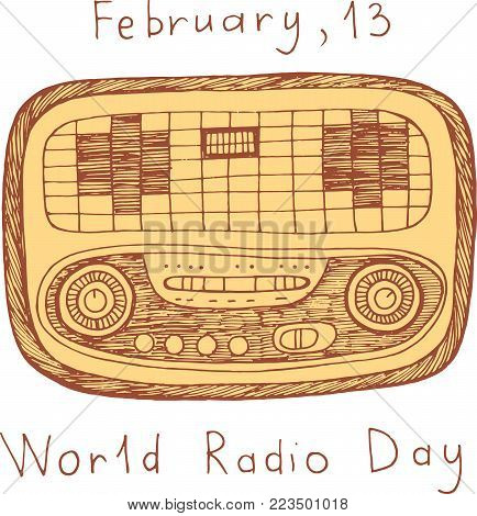 World Radio Day poster. Doodle scribble cartoon art with words. Vector illustration.