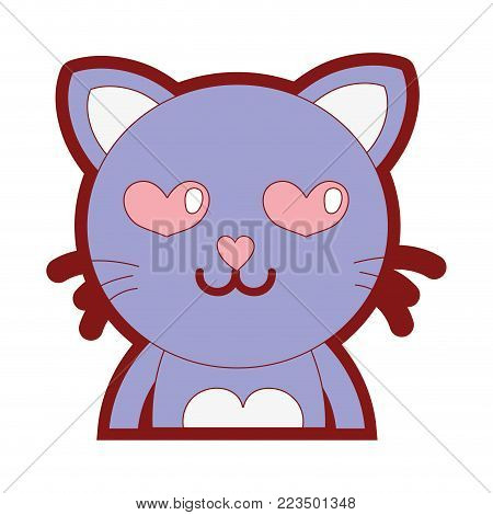 line color enamored cat adorable feline animal vector illustration