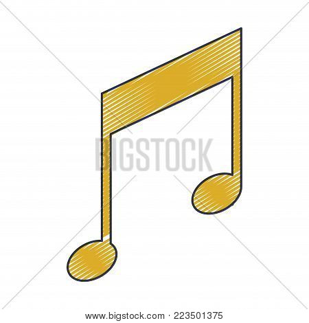 musical note icon in colored crayon silhouette vector illustration