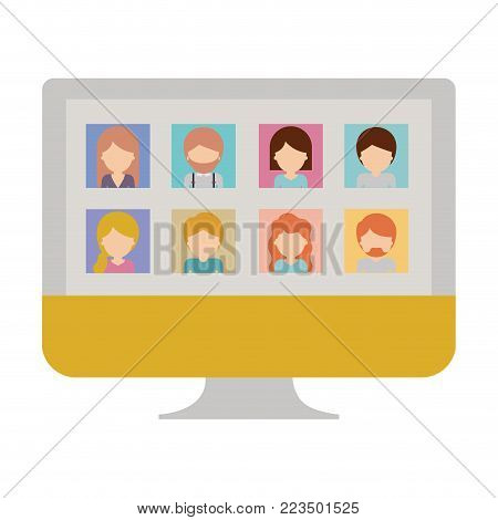 faceless people gallery picture profiles social network in monitor screen in colorful silhouette vector illustration