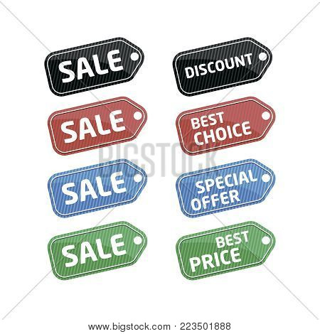 Sale stickers in vintage style. Special offer, best choice, discount, best price labels. Retail advertising tags, supermarket shopping symbols, exclusive proposition isolated vector illustration.