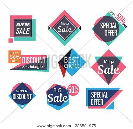 Supermarket sale stickers in trendy style. Special offer, best choice, super discount, big sale labels. Retail advertising campaign, holiday shopping, exclusive proposition vector illustration.