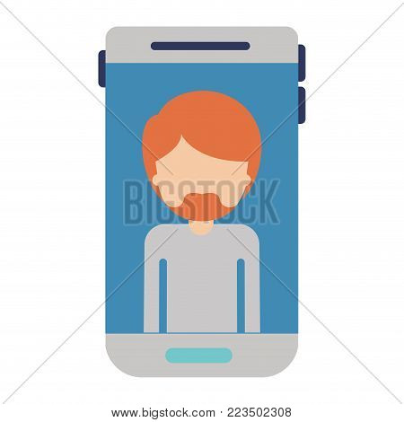 smartphone faceless man profile picture with short hair and van dyke beard in colorful silhouette vector illustration
