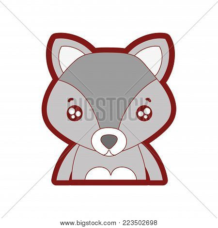 line color tender fox adorable wild animal vector illustration