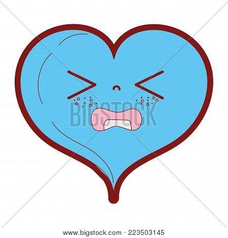 line color gaudy heart love kawaii cartoon vector illustration