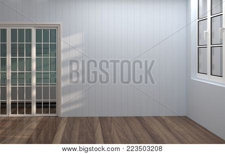 Empty gray room with sunlight,have white windows and white door,wooden floor 3d rendering luxury living room vintage style  background room interior home design