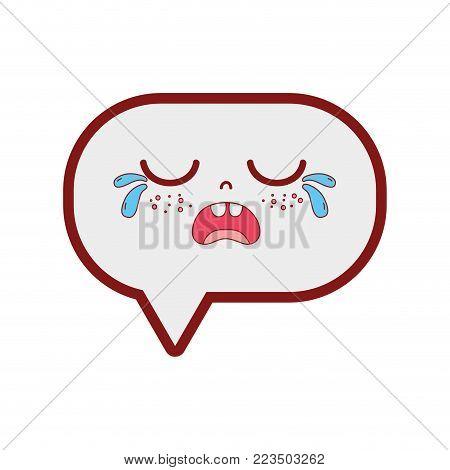 line color gaudy chat bubble kawaii cartoon vector illustration