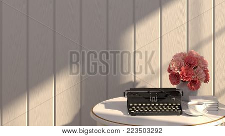 Typewriter and flowers are on the white table with sunlight in front of gray wall in room 3d rendering luxury living room vintage style  background room interior home design