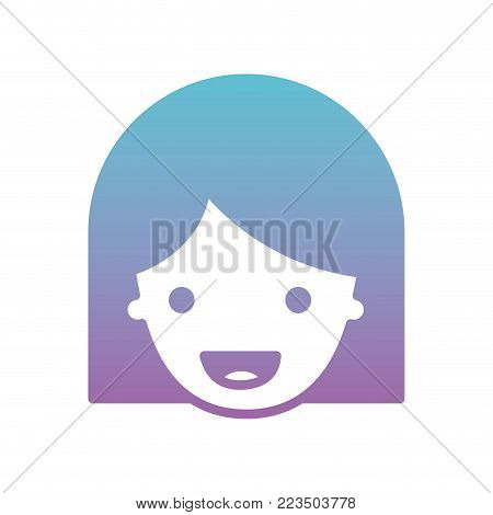 people graphic face of woman with middle length hair in degraded blue to purple color silhouette vector illustration
